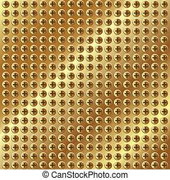 parafusos, ouro, fundo, metálico
