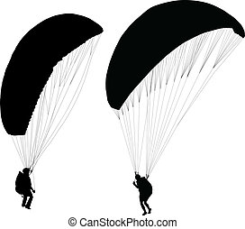 Paraglider before taking off - Silhouettes of paraglider on...