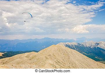 Paraglider flying over mount Tahtali