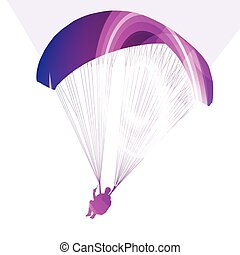 Paraglider flying silhouette illustration background...