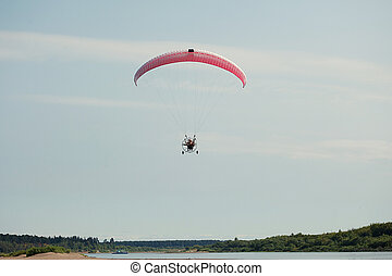 paraglider, image, voler, couple, moto