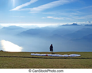 Paraglider in the mountain