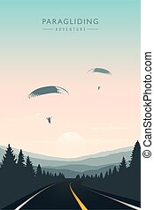 paraglider in the sky on road and mountain background
