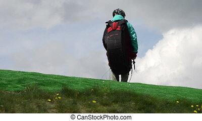 Paraglider preparation for take off during paragliding