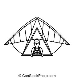 Paraglider silhouette flying icon