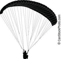 paraglider silhouette - vector - illustration of paraglider...