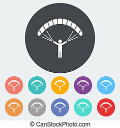 Paraglider. Single flat icon on the circle. Vector illustration.