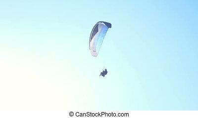 Paraglider sky air sport - Paraglider in the sky flies in...