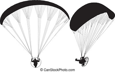Paraglider with Paramotor Silhouette on white background