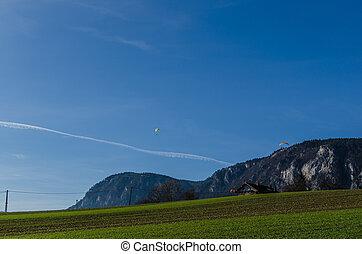 paragliders, dans, nature