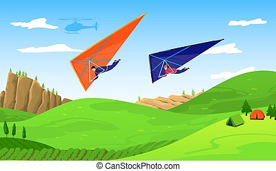 Paragliders in sky abouve forest, extreme sport adventure vector illustration. Paraplane free fly paragliding sports. Wind skydiving and recreation. Sportsmen on paraplan in air, hang gliding.