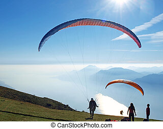 Paragliders in the mountains