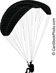 paraglidig silhouette - vector
