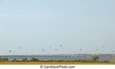 Paragliding above the sea