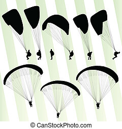 Paragliding active sport background set vector for poster