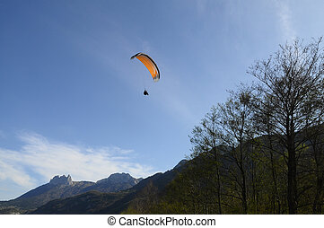 Paragliding and Forclaz mountains, in Annecy, Savoy, France...