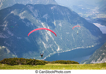 Paragliding at the Dachstein Mountains