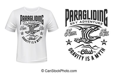 Paragliding club t-shirt vector print with eagle