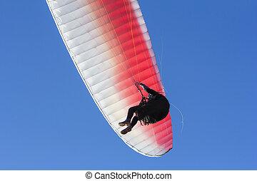 paragliding, fond, av, blåttsky, närbild