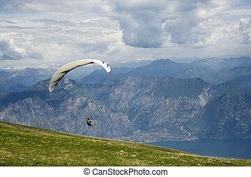 paragliding, in, der, berg