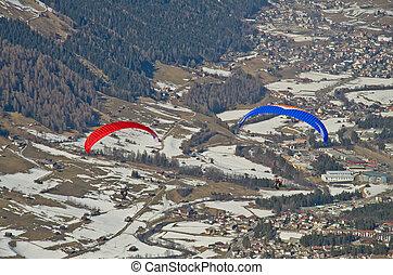 Paragliding in mountains, Innsbruck, Austria