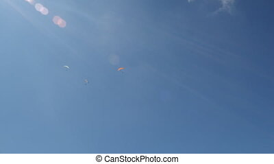 Paragliding in sunny day. - three sportsman flying on the...