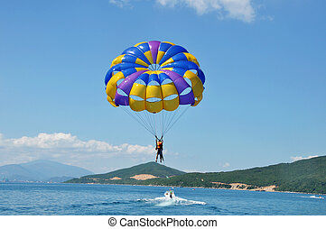 Paragliding on beach - Landscape of paragliding on beach...