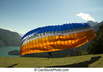 Paragliding on the mountain