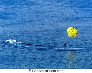 paragliding, op, de, zee