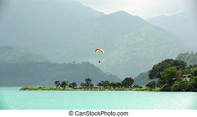 Paragliding over Pokhara Lake, Nepal