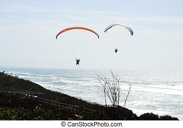 Paragliding over the Atlantic Ocean