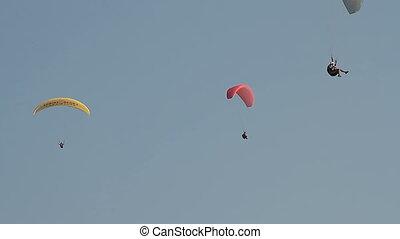 Paragliding over the mountains - Goa, India - February 19,...