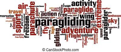paragliding, palavra, nuvem