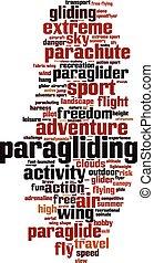paragliding, słowo, chmura