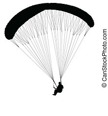 paragliding silhouette - vector