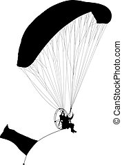 Paragliding , silhouette  vector illustration
