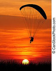 paragliding, sonnenuntergang