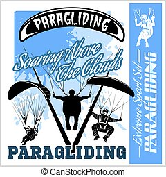Paragliding. Sport emblem and illustrations - vector set.
