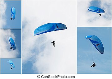 Paragliding - Collage of six pictures of paragliding