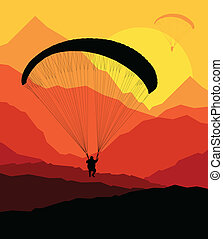Paragliding vector background landscape concept vector with...