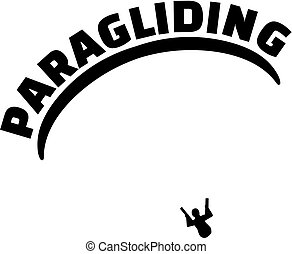 Paragliding with silhouette