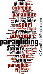 Paragliding word cloud concept. Vector illustration