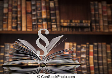 Paragraph and Law books, justice concept, Courtroom
