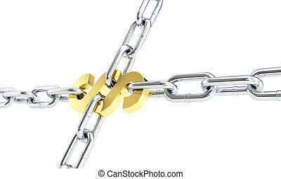 Paragraph chain links isolated on a white background