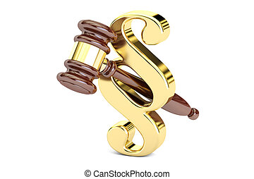 Paragraph law symbol and judge gavel, 3D rendering