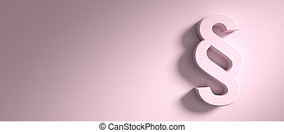 Paragraph, section sign on pink wall background, banner, copy space. 3d illustration