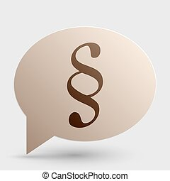 Paragraph sign illustration. Brown gradient icon on bubble with shadow.