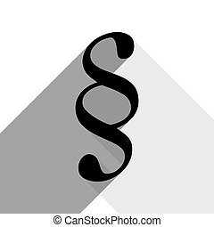 Paragraph sign illustration. Vector. Black icon with two flat gray shadows on white background.