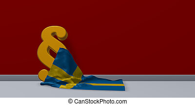 paragraph symbol and flag of sweden - 3d rendering