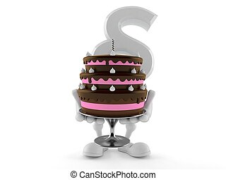 Paragraph symbol character holding cake